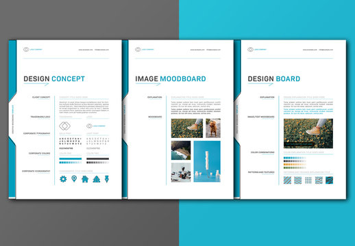Design Moodboard Layout with Blue Accents