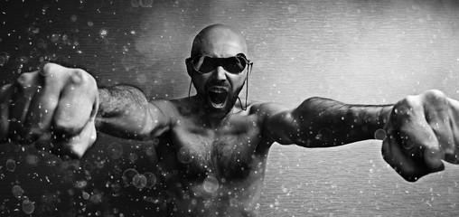 brutal portrait of a man fists force, unusual daring portrait aggressive man, beard, fists, hands, concept masculine strength