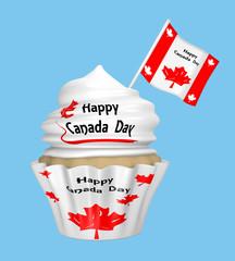 Cupcake mit dem Text Happy Canada Day und Ahornblatt.