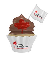 Cupcake mit Schokocreme, Ahornblatt und den Text Happy Canada Day.