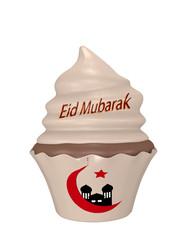 Cupcake mit dem Text Eid Mubarak, Halbmond und Moschee.