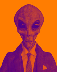 mr grey alien the businessman in a duotone view
