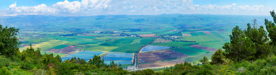 Panoramic view of the Hula Valley landscape