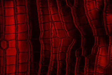 Wall Mural - Red crocodile leather texture, as background.