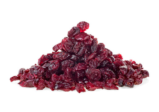 Pile of dried cranberries isolated on white background