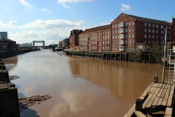 Former warehouses and the River Hull, Hull.