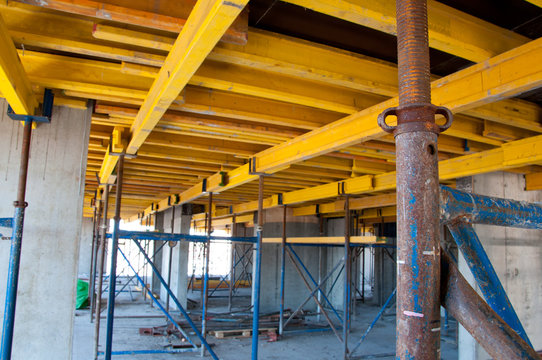 Part of the formwork on a construction site. Organization of concrete work at a construction site. Reinforced construction.