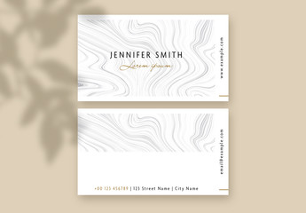 Business Card with Grey Marble Wave Accents