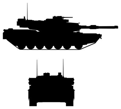 Modern tank silhouette: front and side views