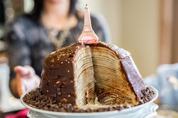 Chocolate Eiffel Tower Crepe Birthday Cake