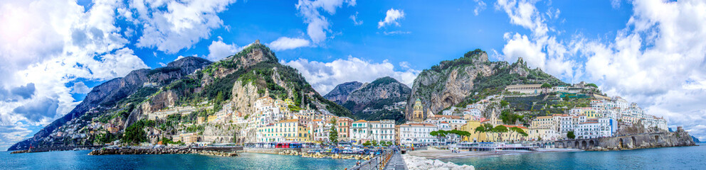 Panoramic view of the town of Amalfi on coast in Italy Wall mural