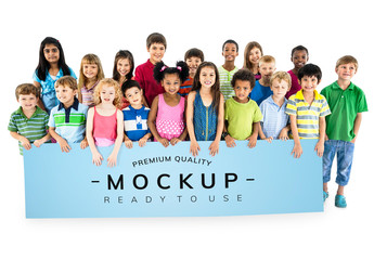 Group of Kids Holding a Banner Mockup