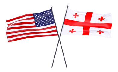USA and Georgia, two crossed flags isolated on white background. 3d image