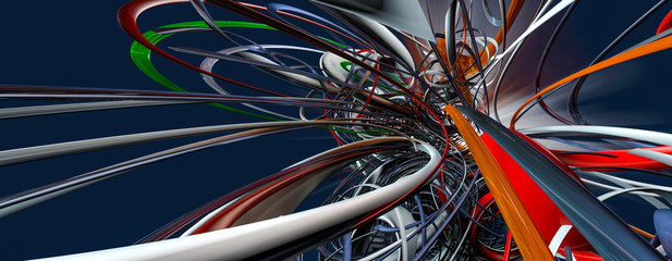 3D rendering of abstract connection structure