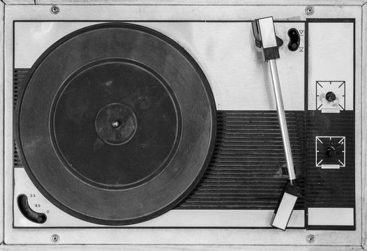 Old black and white record player.