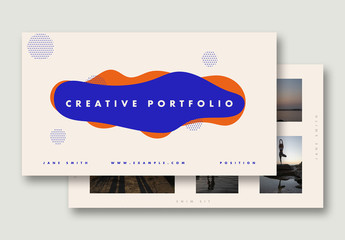 Portfolio Layout with Bright Blue and Orange Accents