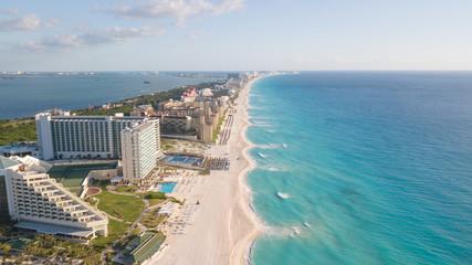 Beautiful beach in Cancun, aerial view. Zona Hoteliera. Caribbean coast, Yucatan, Mexico