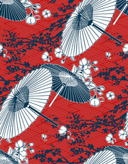 japanese traditional vector illustration sakura umbrella pattern red