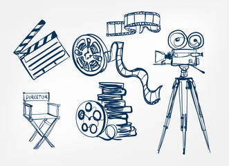 camera director chair roll film set vector sketch illustration