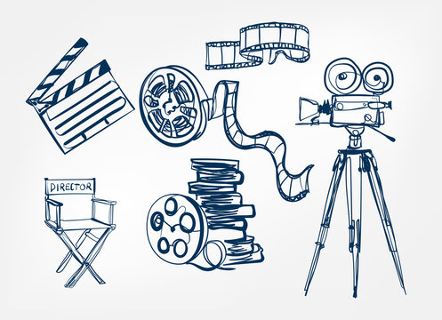 camera director chair roll film set vector sketch illustration