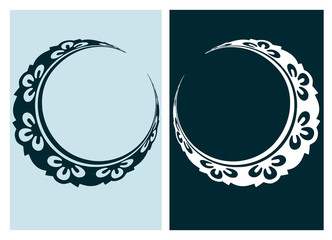 art nouveau moon vector frame vector pair line isolated