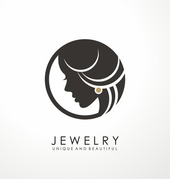 Jewelry logo symbol design with beautiful woman portrait and golden earring. Unique icon layout for beauty and fashion business. Vector illustration.