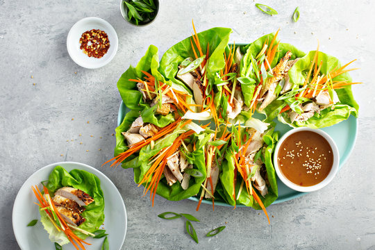 Asian inspired grilled chicken carrot and ginger lettuce wraps