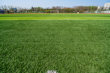 beautiful pattern of fresh green grass for football sport, football field, soccer field, team sport...
