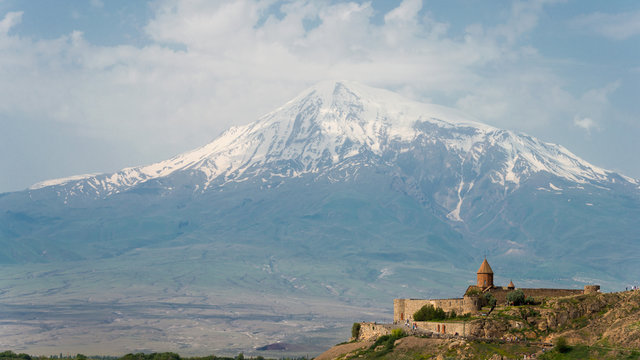 Ararat , Armenia - Jun 15 2018- Mount Ararat view from Khor Virap. a famous landscape in Lusarat, Ararat, Armenia.