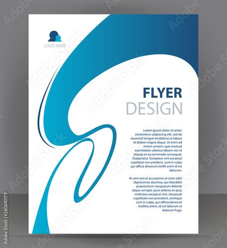 Flyer brochure, cover layout design print template, light blue