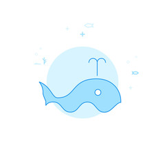 Blue Whale Flat Vector Illustration, Icon. Light Blue Monochrome Design. Editable Stroke