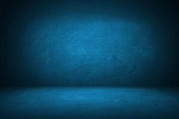 Fototapete - dark blue grunge studio backdrop background