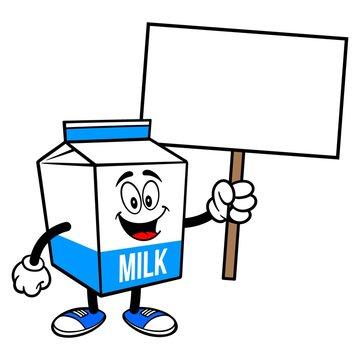Milk Carton Mascot with a Sign - A cartoon illustration of a  Milk carton mascot.