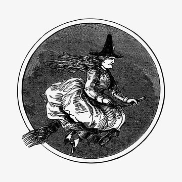 Drawing of a witch riding a broomstick