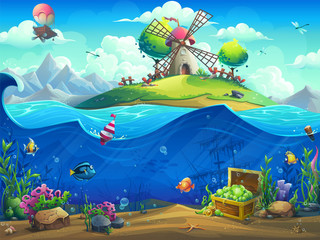 Undersea world with baloon on the island