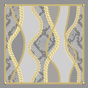 Golden Chains Shawl Pattern on Snake Background.