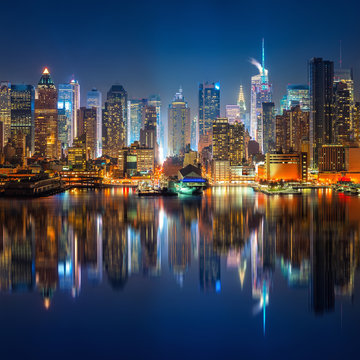 View on Manhattan and times square at night, New York, USA