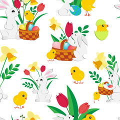 Easter seamless pattern with cute bunnies , painted eggs in a wicker basket , fluffy chickens, spring tulips and daffodils on a white background