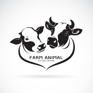 Vector of two cows head design. Animals farm. Cows Icon or logo.