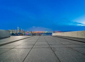 Fototapete - skyline of seattle in winter