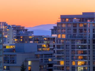 apartment at sunset