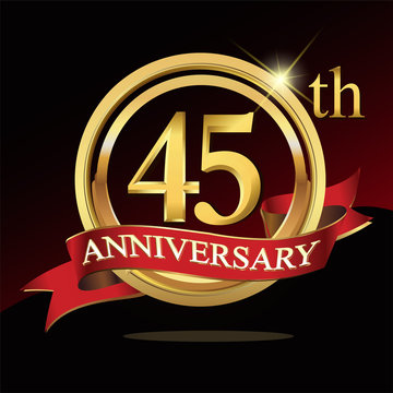 45 golden anniversary logo. with ring and ribbon.