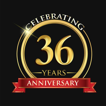 Celebrating 36 years anniversary logo. with golden ring and red ribbon.