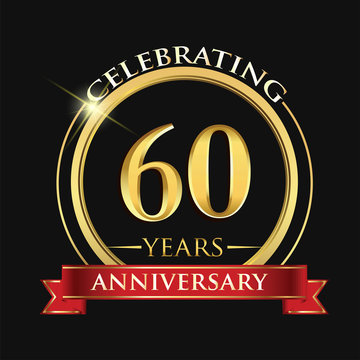 Celebrating 60 years anniversary logo. with golden ring and red ribbon.
