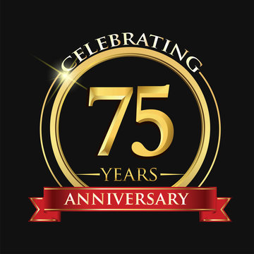 Celebrating 75 years anniversary logo. with golden ring and red ribbon.