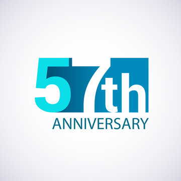 Template Logo 57 anniversary blue colored vector design for birthday celebration.