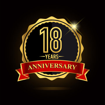 Celebrating 18 years anniversary logo. with golden ring and red ribbon.