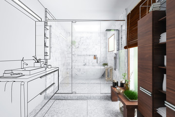 Modern Bathroom Integration (outline) - 3d visualization