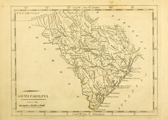 Old map. Engraving image. US Wall mural