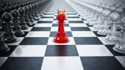 Red chess pawn wearing a crown standing between black and white chess pieces. 3D illustration